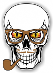GOTHIC Hipster SKULL With RED & YELLOW Evil Eyes and Pipe & Glasses Motif External Vinyl Car Sticker 100x70mm